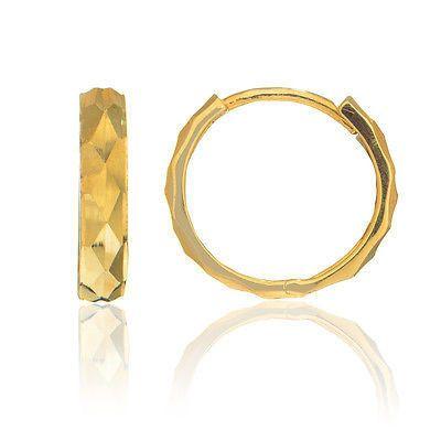 593653946e71f 14k Solid Gold Shiny DC Huggy Huggies Earrings Hoops 3x13.5mm in ...