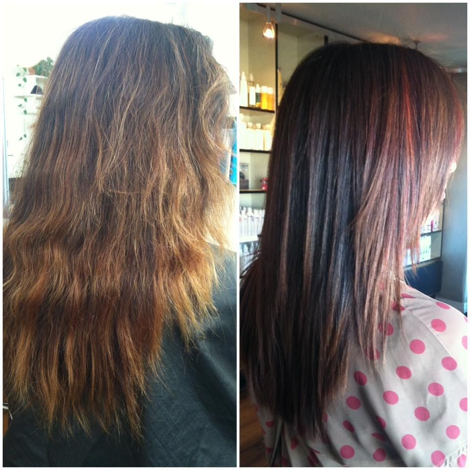 Before And After Color And Keratin Protein Treatment Our Clients