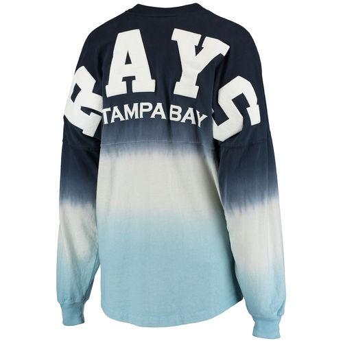 669b850ecf3e6 Tampa Bay Rays Women s Oversized Long Sleeve Ombre Spirit Jersey T-Shirt -  Navy (Blue)