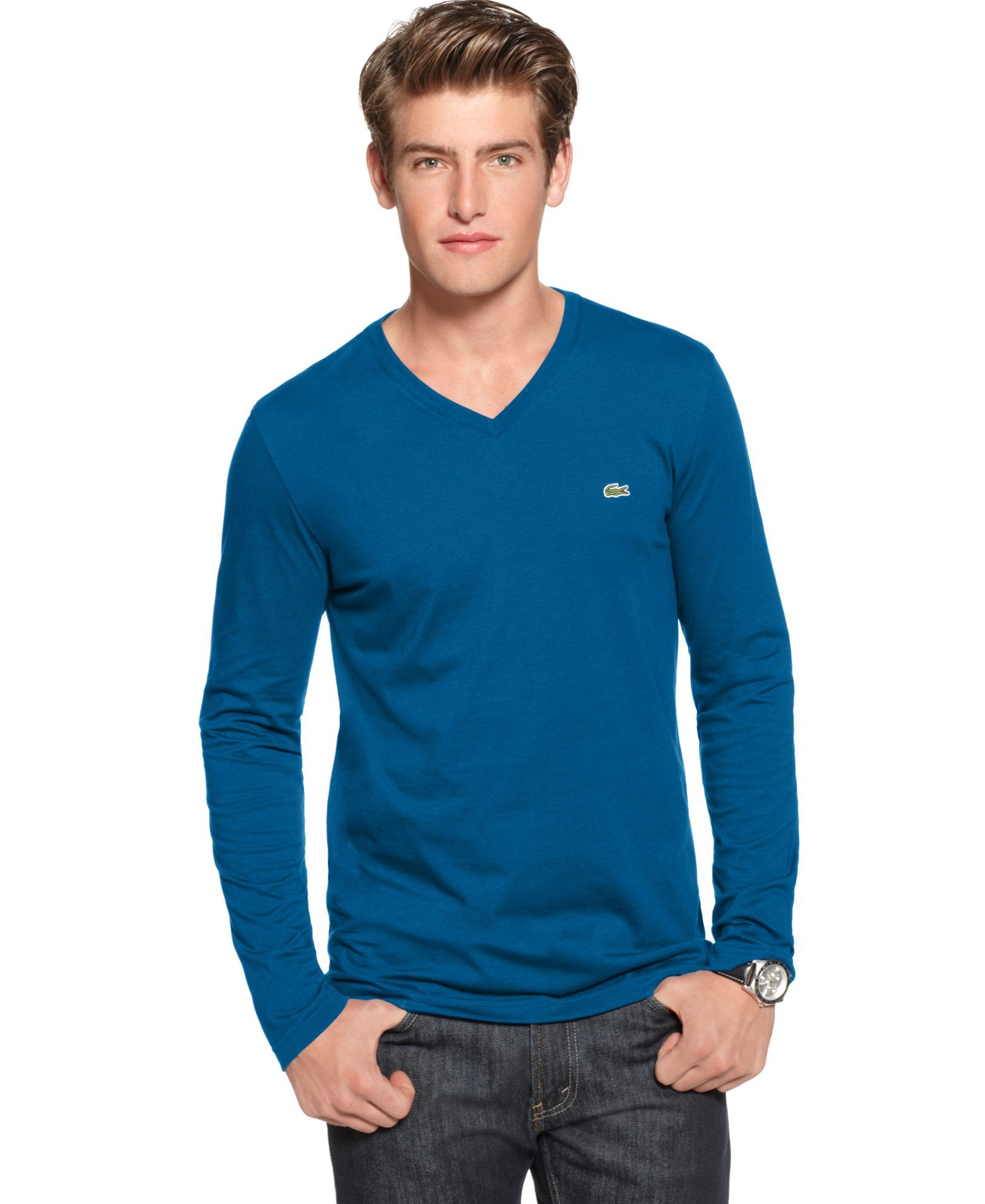 cad09cccb6 Lacoste T Shirt, Core Long Sleeve Jersey V Neck | Products | Lacoste ...