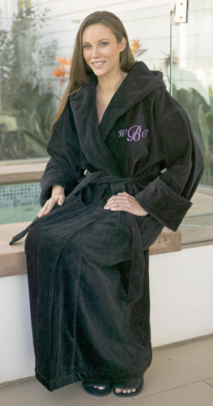872e041c0b Personalized Unisex Velour Hooded Bath Robe. Full length terry velour  hooded robe for a man
