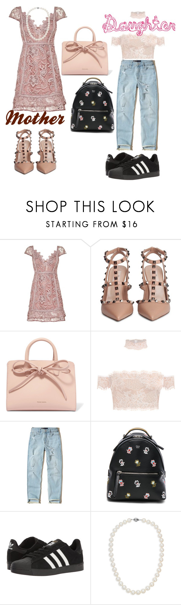 """""""Mother and Daughter"""" by ruelalou on Polyvore featuring Valentino, Mansur Gavriel, Hollister Co., Fendi, adidas and Blue Nile"""