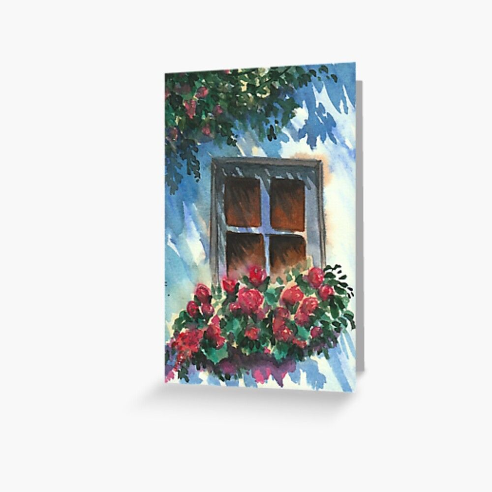 'French Window & Flowers ?/ Watercolor Art Collection / 005' Greeting Card by wearyourworthco