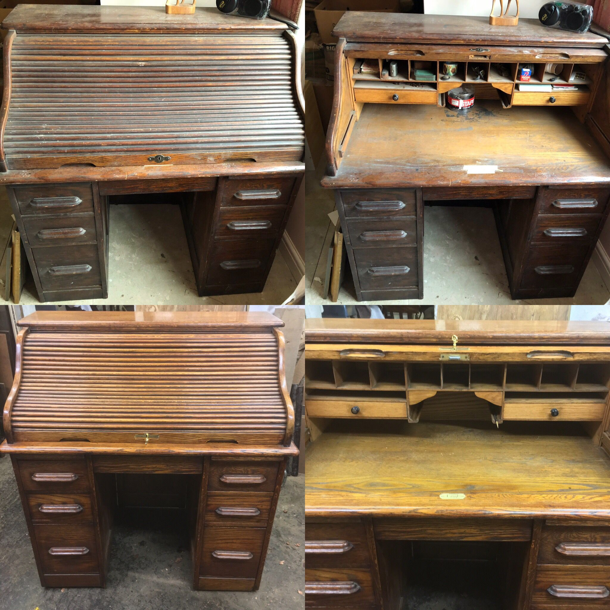 Roll Top Desk Pictured Before And After Restoration