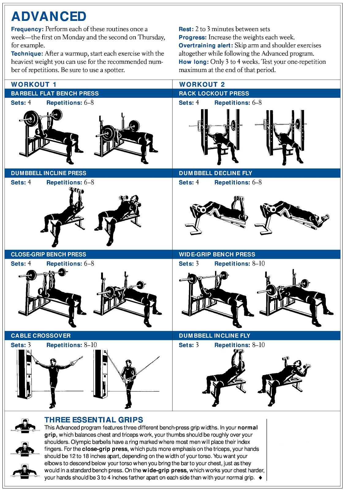 Printable Sample Chest Workout Form  Workout Sheet