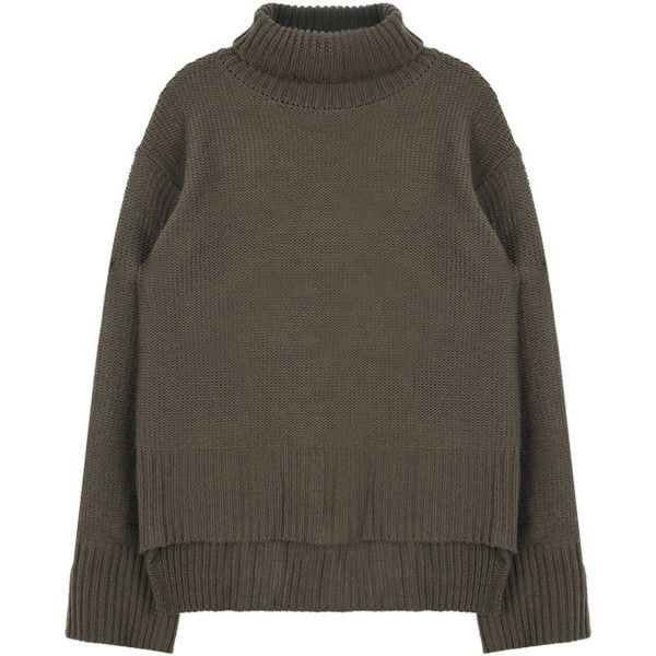 Chunky Knit Turtleneck Sweater (€29) ❤ liked on Polyvore featuring tops, sweaters, collared sweater, oversized turtleneck, bunny sweater, chunky sweater and loose sweater