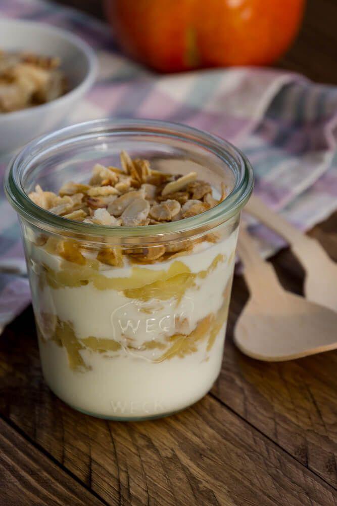 Apfel Joghurt Dessert Im Glas Mit Mandel Knusper Rezept In 2019