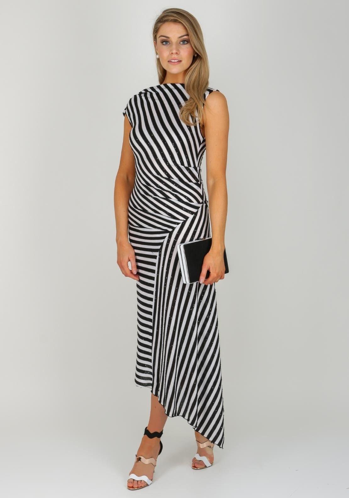 Kevan Jon Rhea Striped Midi Dress Black White Striped Midi Dress Dresses Midi Dress [ 1585 x 1110 Pixel ]