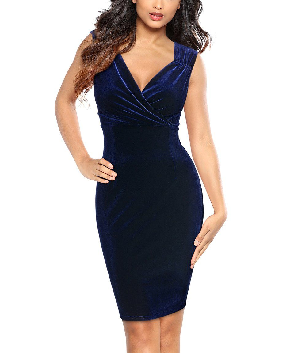 Take a look at this Navy Blue V-Neck Bodycon Dress - Women today ... 0c2acba0b4