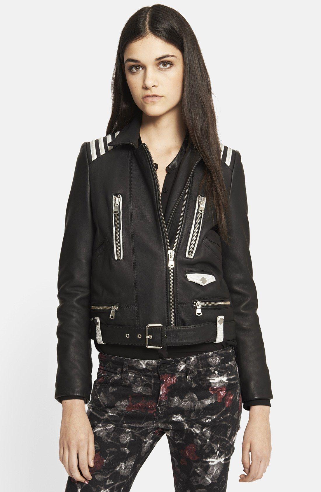 The Kooples Black Distressed Trim Leather Jacket