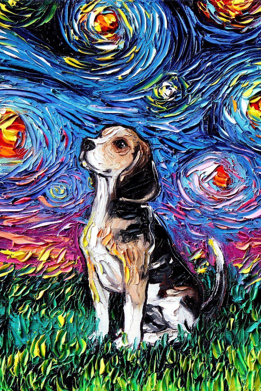 Beagle Art 24x36 Starry Night Print Dog Lover Gift Cute Art By