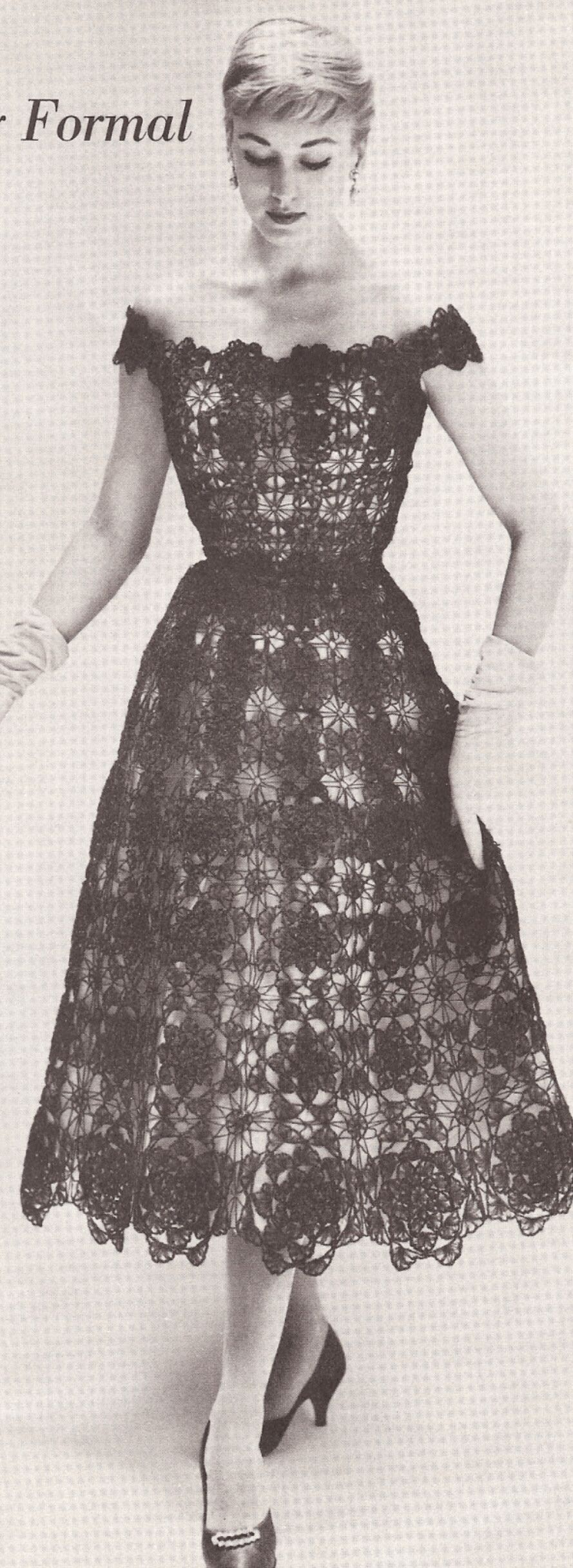 Vintage Crochet Evening Dress