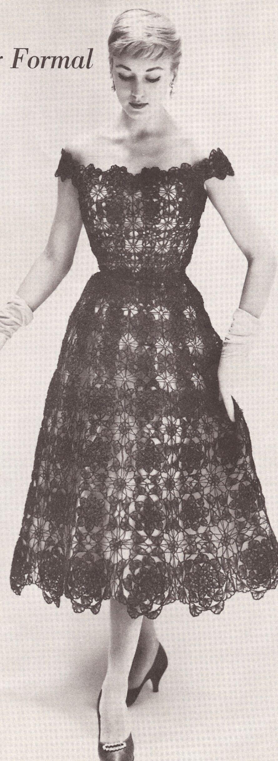 Lace dress 50s  Vintage Crochet PATTERN to make Lace Formal Evening Dress s