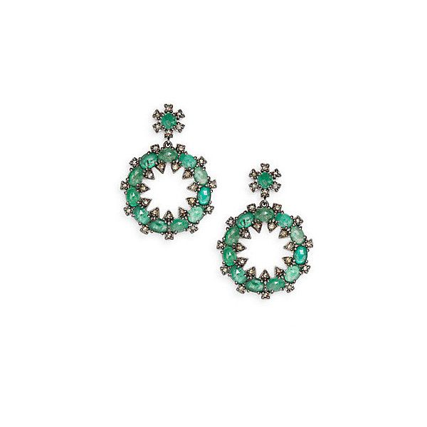 Bavna Champagne Diamonds, Emerald & Sterling Silver Drop Earrings ($3,000) ❤ liked on Polyvore featuring jewelry, earrings, green, diamond earrings, drop earrings, post drop earrings, sterling silver earrings and emerald drop earrings
