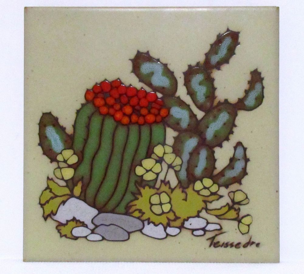 Cleo teissedre handpainted ceramic tile trivet cacti southwestern cleo teissedre handpainted ceramic tile trivet cacti southwestern wall decor amipublicfo Choice Image