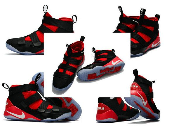 Free Shipping Only 69$ Nike Zoom Lebron Soldier 11 XI Black University Red  White