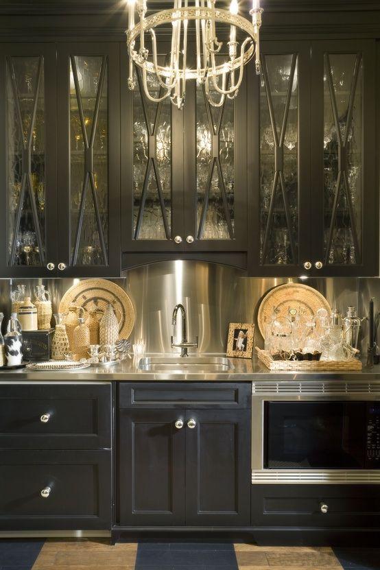 Beautiful Elegant Dark Kitchens Design Idea: Fancy Elegant Dark Kitchens  Black Cupboard Chrome Backsplash ~