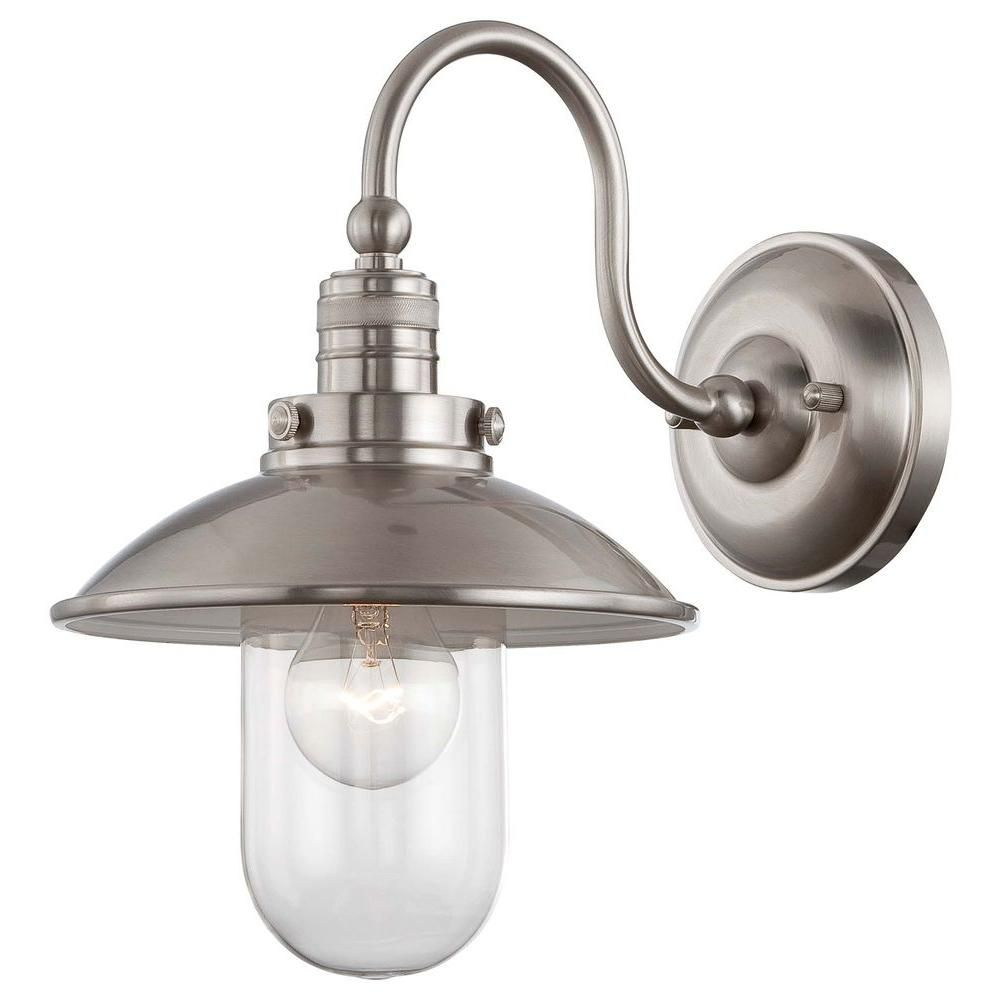 charming Bathroom Wall Sconces Brushed Nickel Part - 6: $132 Minka Lavery Downtown Edison Brushed Nickel Sconce-71162-84 - The Home  Depot