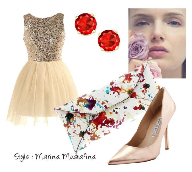 """Coctail evening look 02"" by imagemaker-mustafina ❤ liked on Polyvore featuring VBH, Charles David, NewYears, dress, cocktail, evening and newyear"