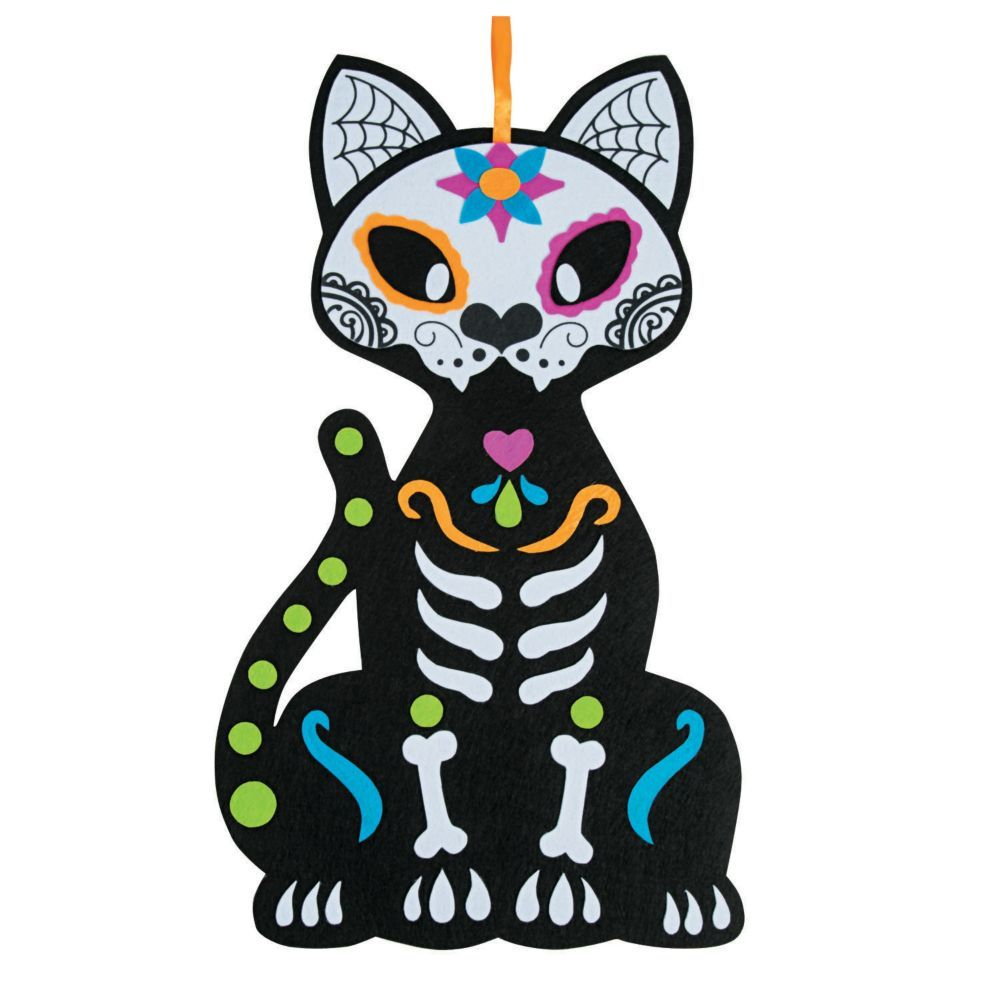 Day Of The Dead Cat Wall Decoration Sugar Skull Cat Cat Wall Day Of The Dead