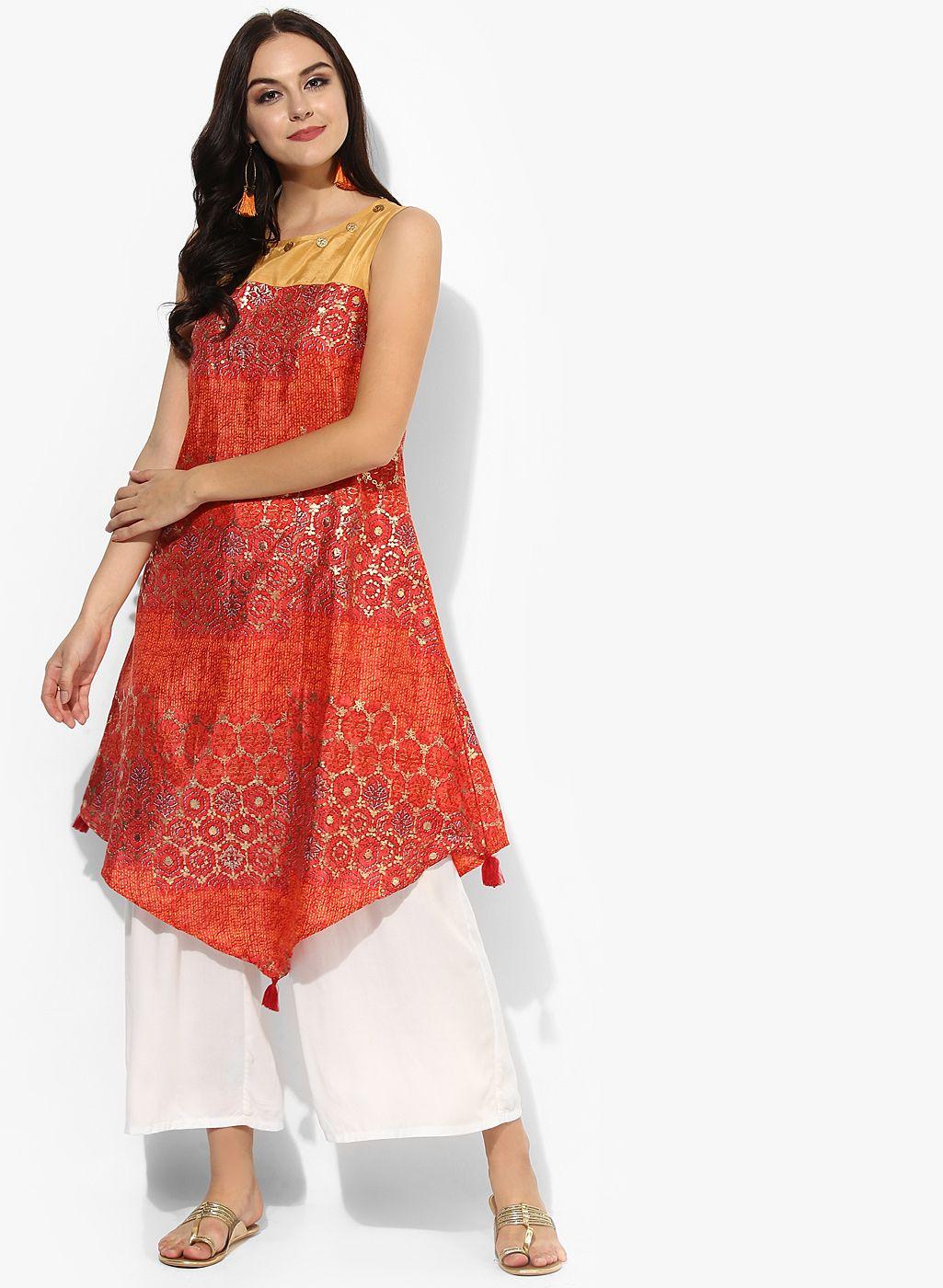 2e799a21bab Akkriti By Pantaloons Orange Asymmetrical Tunic  Pantaloons  Orange   Asymmetrical  Tunic  Kurta  Kurtis  Casual  Polyester  Printed