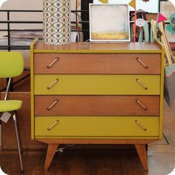 Meubles vintage \u003e Rangements \u003e Commode 4 tiroirs 50\u0027s  Fabuleuse - repeindre un meuble en chene
