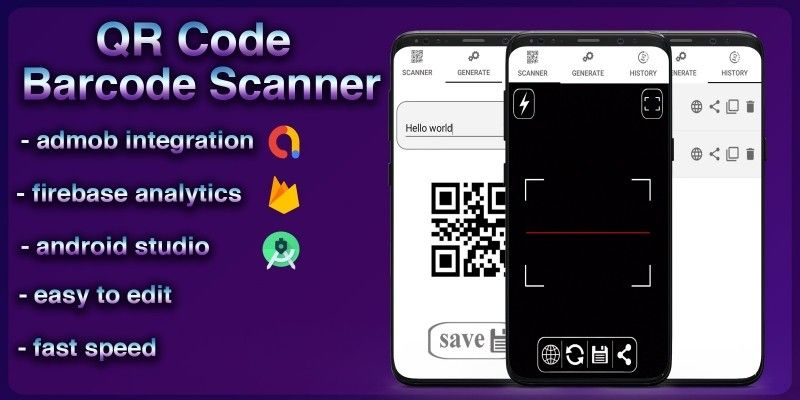 Qr code and barcode scanner android source code by