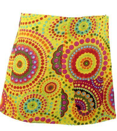 Goa Wickelrock Wenderock pink/gelb / kurze Röcke: Amazon.de: Bekleidung