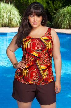 women's plus size swimwear - always 4 me - tribal tankini w/ swim