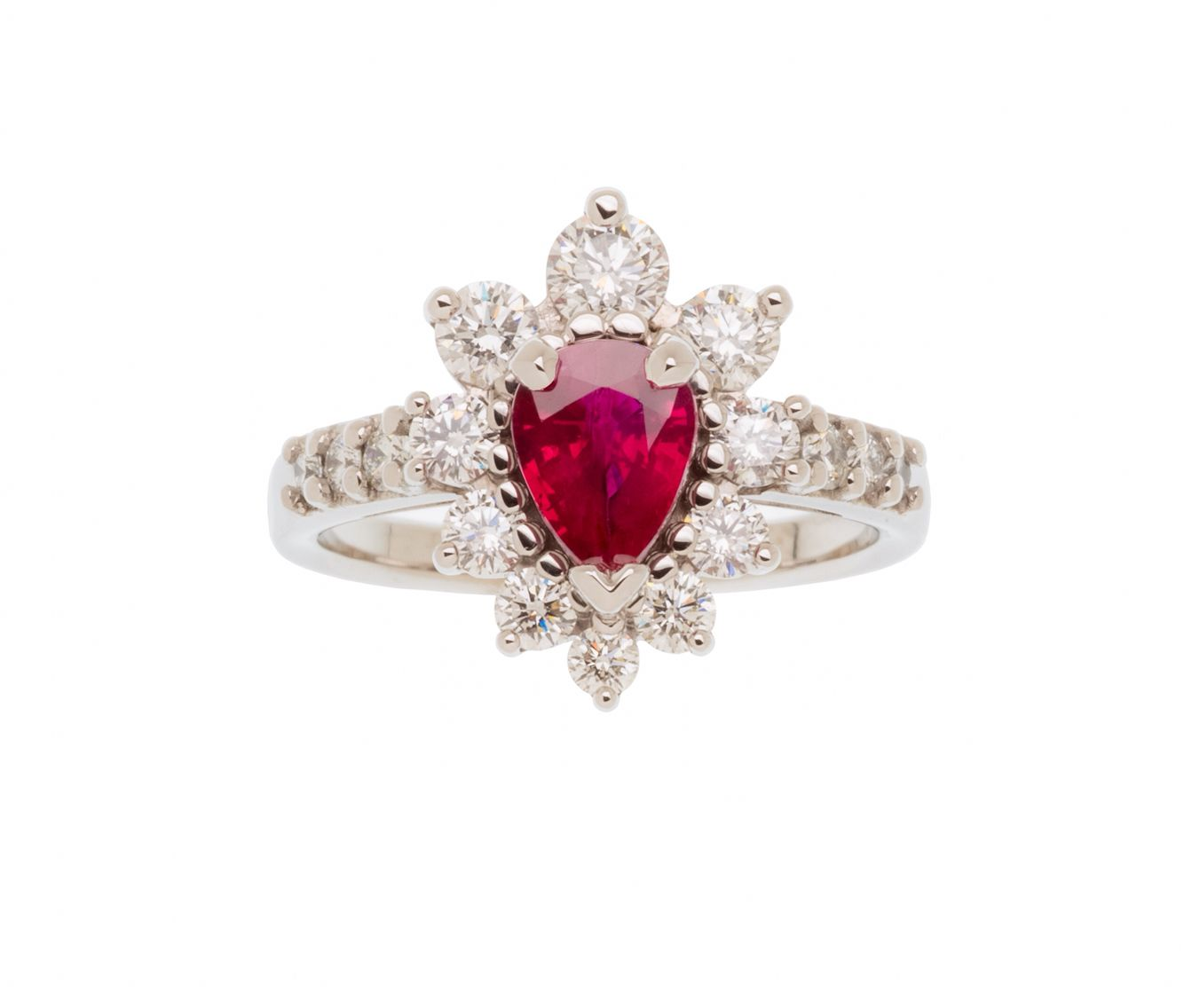 Pierre rey custome made pear shaped blood pigeon ruby engagement