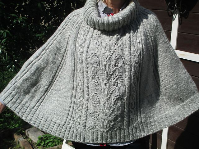 Ravelry: Project Gallery for 151-2 Frozen Ivy - Poncho with cables and leaf pattern in Karisma pattern by DROPS design