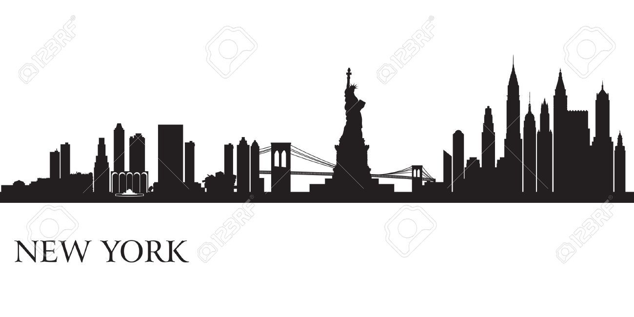 new york city skyline silhouette background vector illustration royalty free cliparts vectors. Black Bedroom Furniture Sets. Home Design Ideas