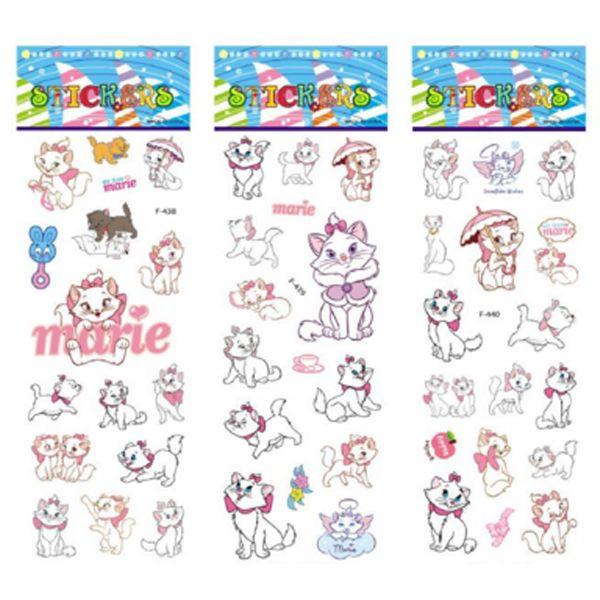 3 hojas/sistema Los Aristogatos Marie Cat patrón pegatinas de burbuja para niños decoración del portátil 3D pegatina garabato juguete pegatinas