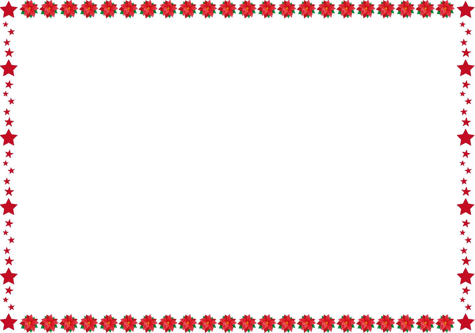 秋冬の花の飾り枠20-ポインセチアイラスト   christmas paper