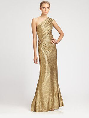 Alice: David Meister - One-Shoulder Metallic Gown - Saks.com | Tag ...