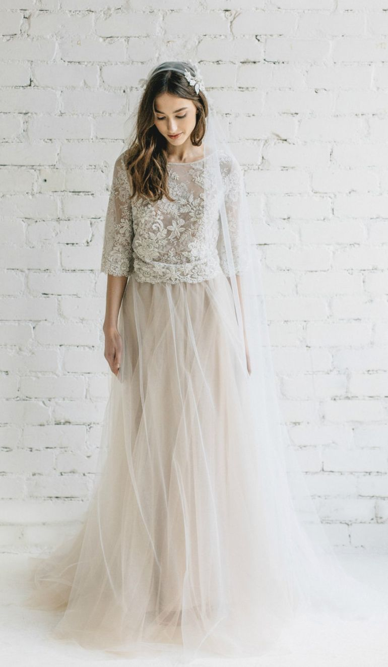 Two piece tulle gown weddings pinterest wedding dresses