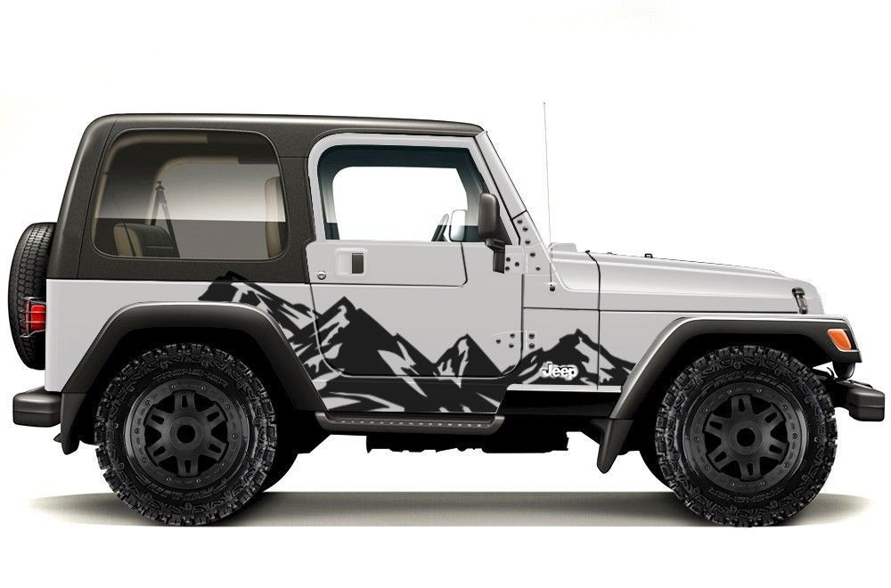 Vinyl Graphics Decal Wrap For 99 06 Jeep Wrangler Rubicon Mountains Matte Black Jeep Decals Jeep Wrangler Vinyl For Cars
