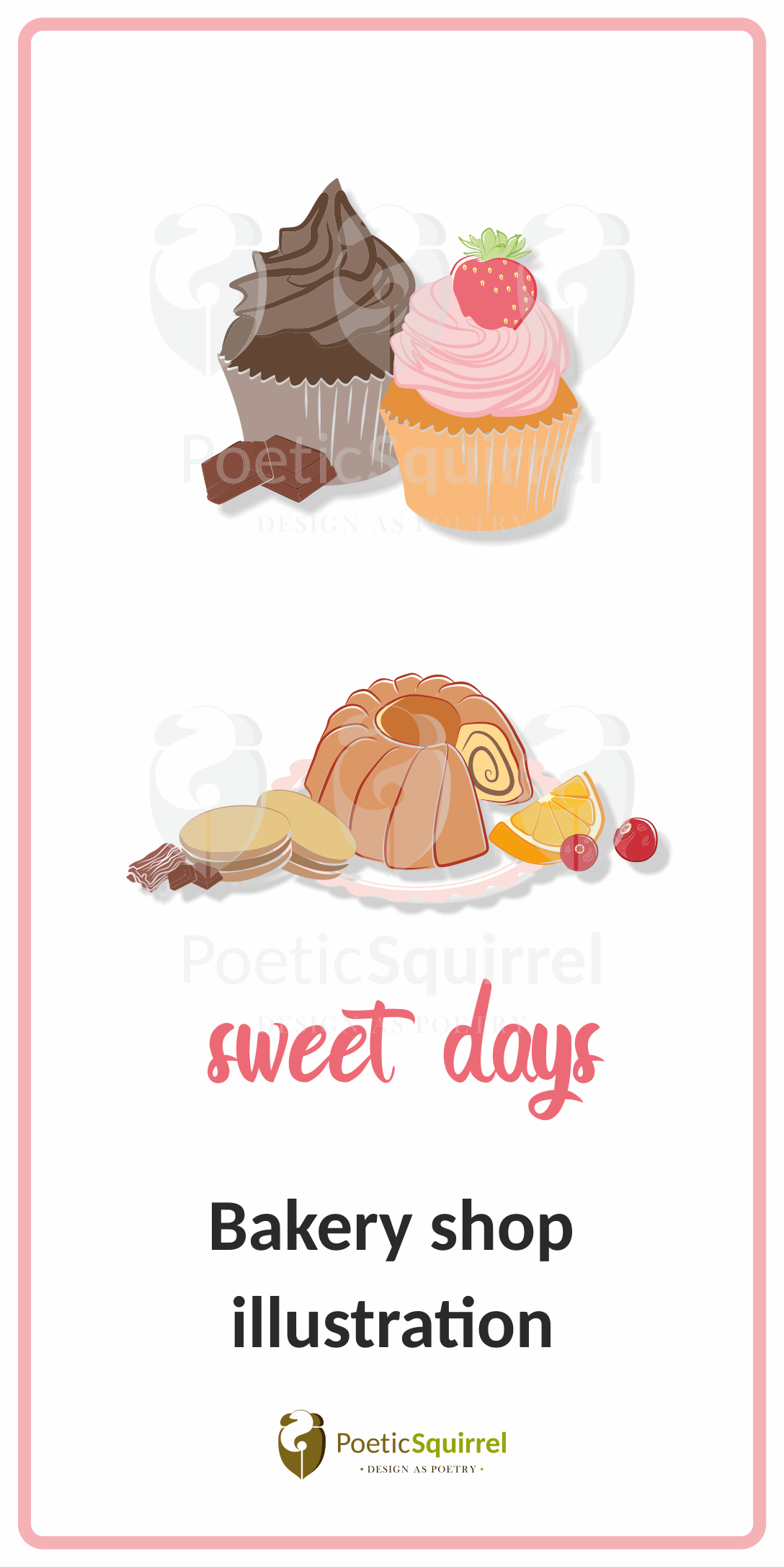 Bakery Illustration Cakes Cookies And Cupcakes Bakery Food Clipart Shop Illustration