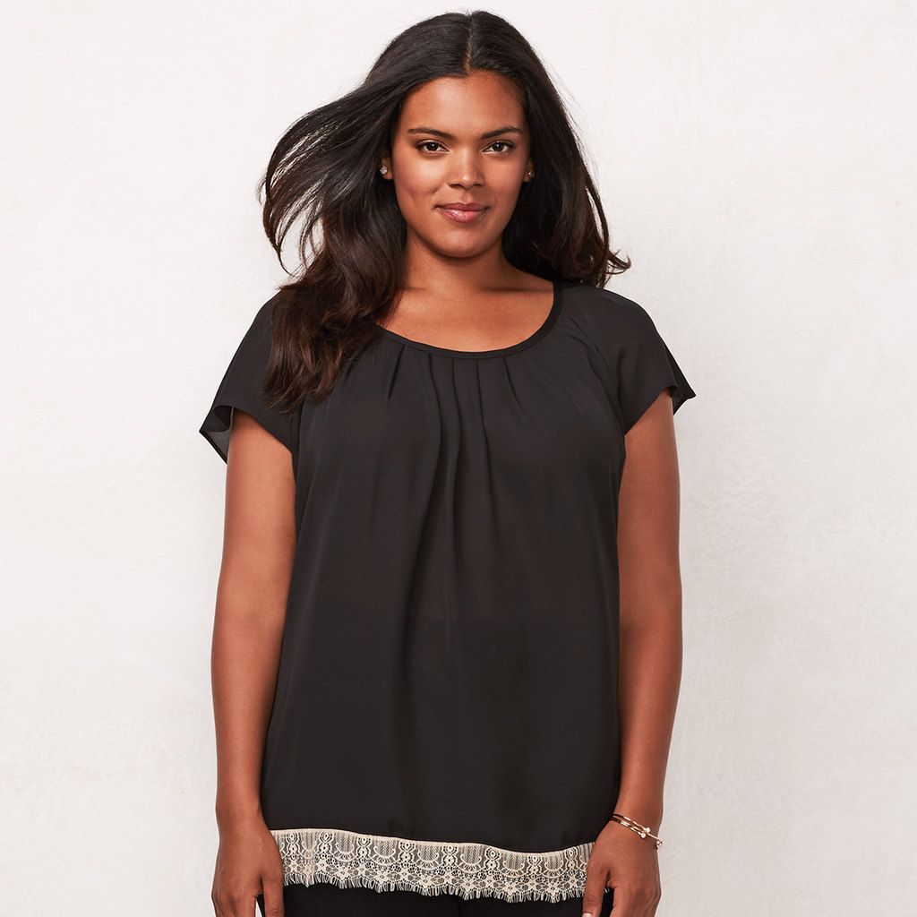 413b31beedb8ca Plus Size LC Lauren Conrad Pleated Top