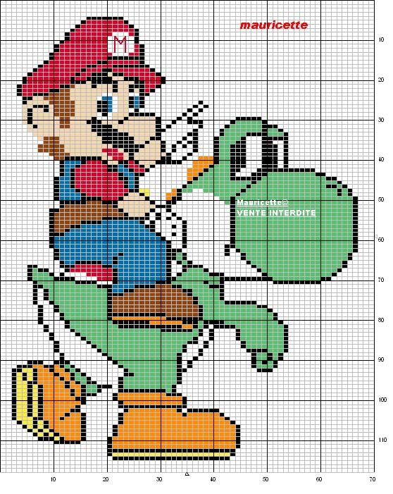 Schema punto croce Mario | Gaming quilt | Pinterest | Punto de cruz ...