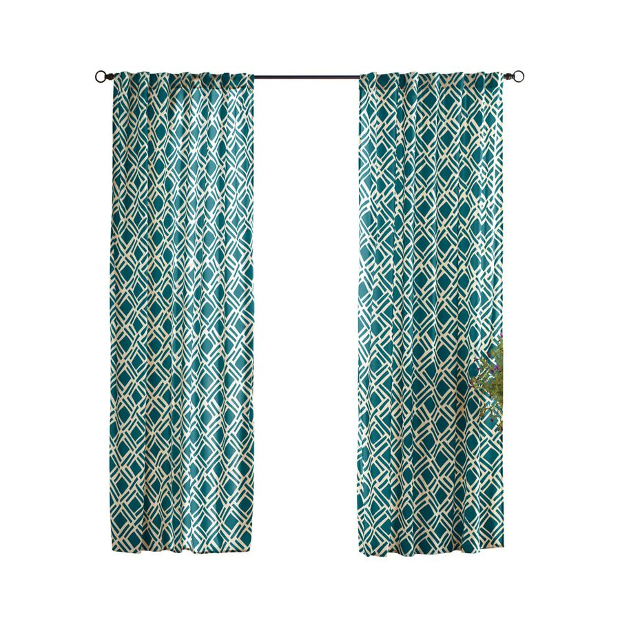 Solaris 96 In L Teal Trellis Outdoor Window Curtain Panel At Lowes