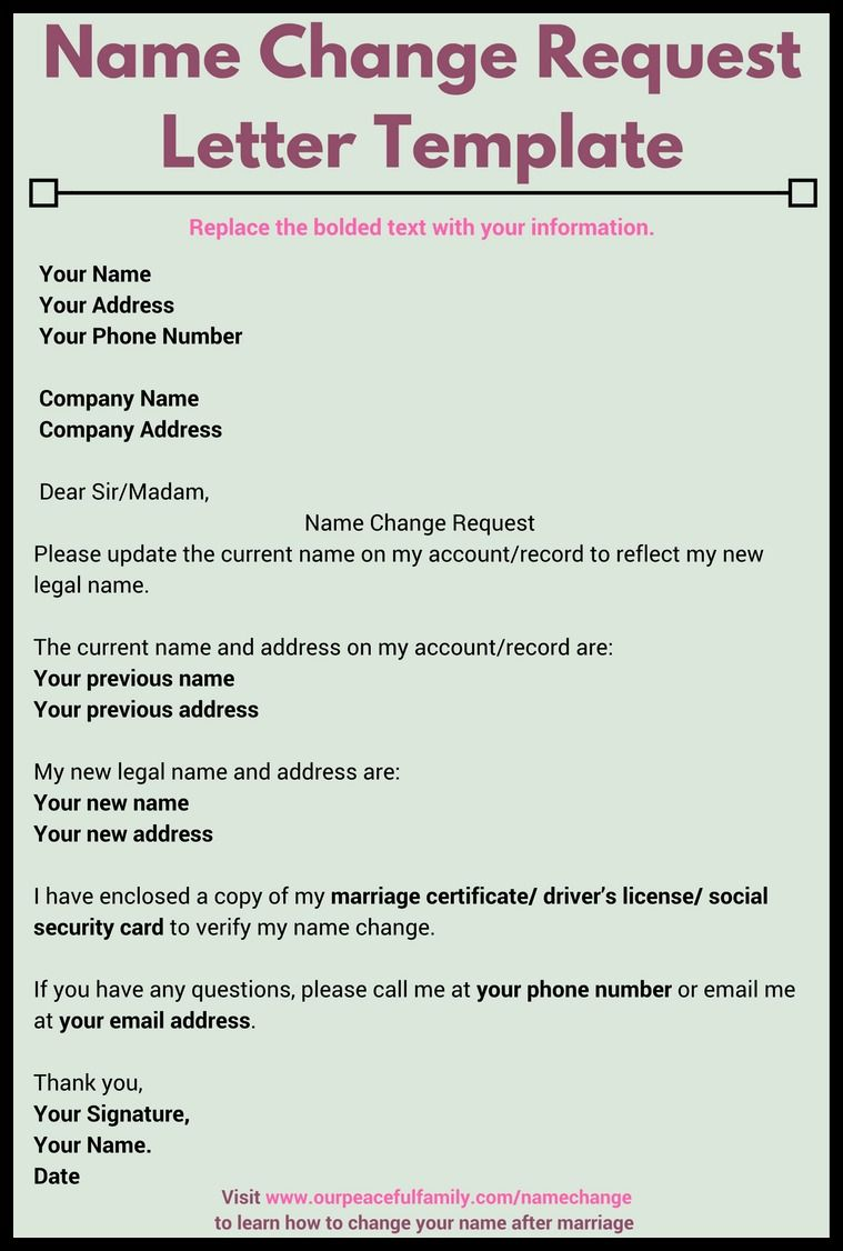 Letter for change of name after marriage template printable use this name change request letter template to notify appropriate companies about your new name replace the bolded text with your information spiritdancerdesigns