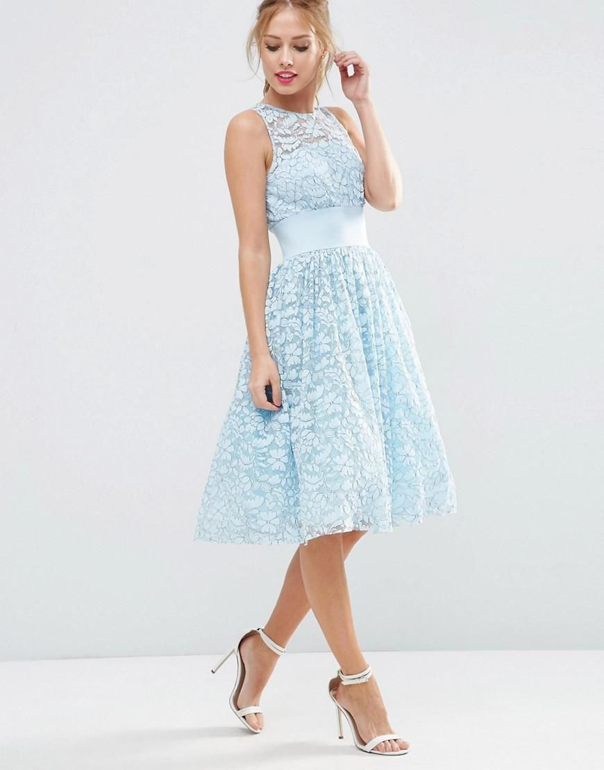 ASOS SALON Lace Applique Midi Prom Dress at asos.com ...