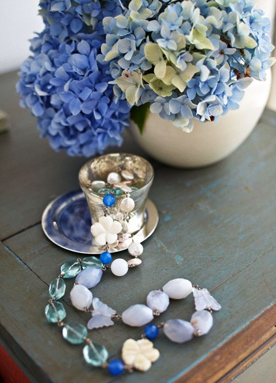 Creative use of jewelry on a tablescape - Weekends at a Renovated Farmhouse