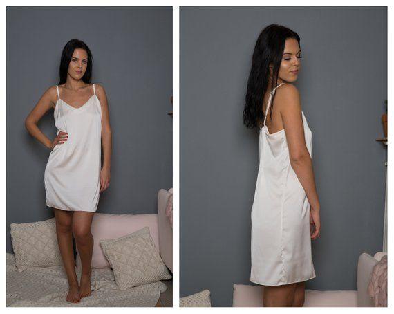 c7c7d24015 Satin Slip Dress   Ivory Satin Slip   White Slip   White Bridal Slip   Satin  Dress   Satin Pyjama