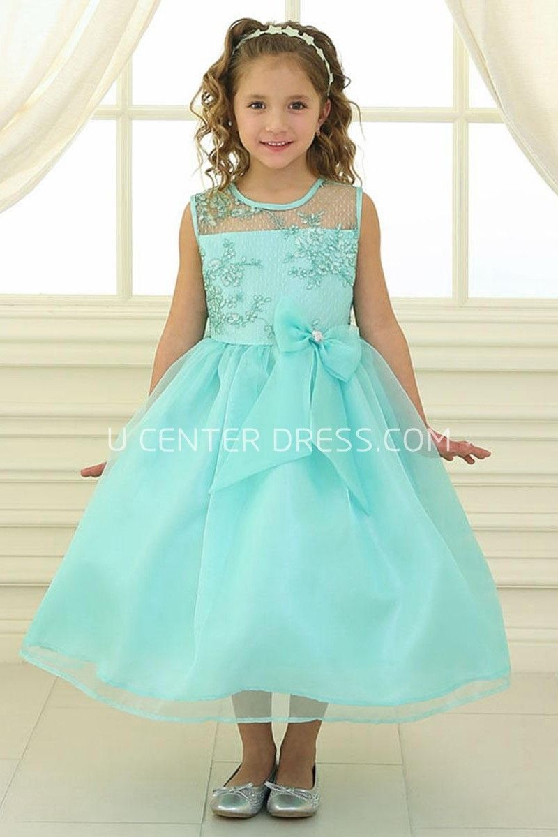 Tea-Length Bowed Floral Lace&Organza Flower Girl Dress With Illusion ...