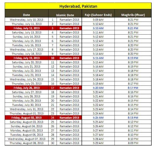 Latest Ramadan 2013 Calendar For Karachi Lahore Quetta Faisalabad