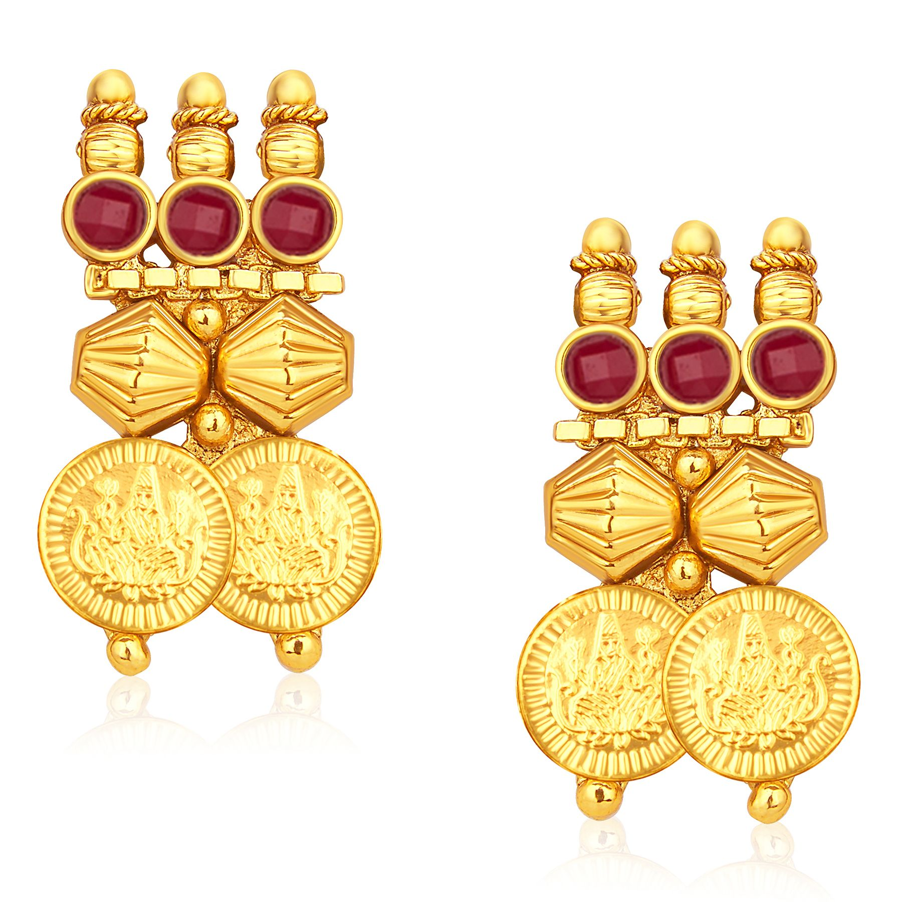 Marvellous Gold Plated Temple Jewellery Coin Necklace Set For