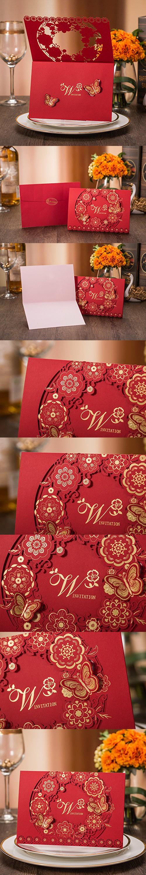 50PCS Red Laser Cut Bronzing Wedding Baby Shower Invitation Cards ...
