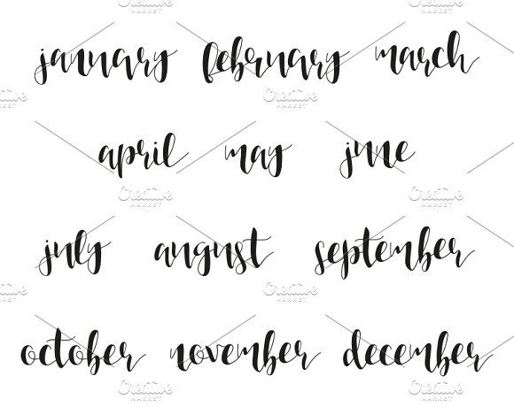 12 Month Names In Calligraphy Graphics Winter And Summer Spring Autumn Time Of Year Phrase English By Modern Vector